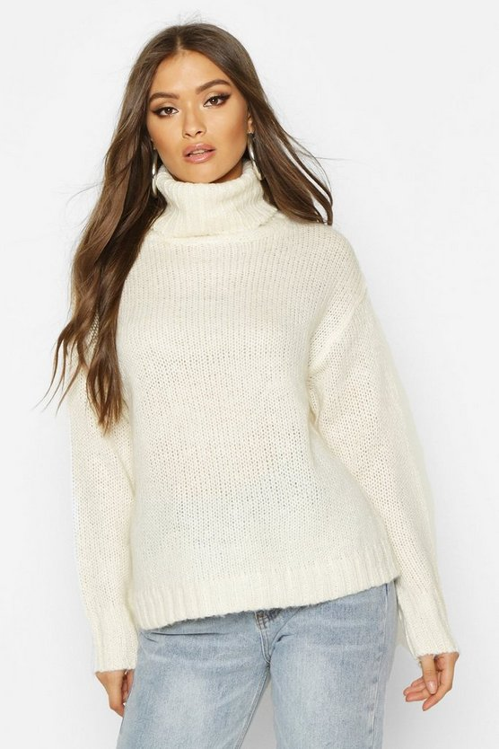 Womens Ivory Oversized Roll Neck Jumper