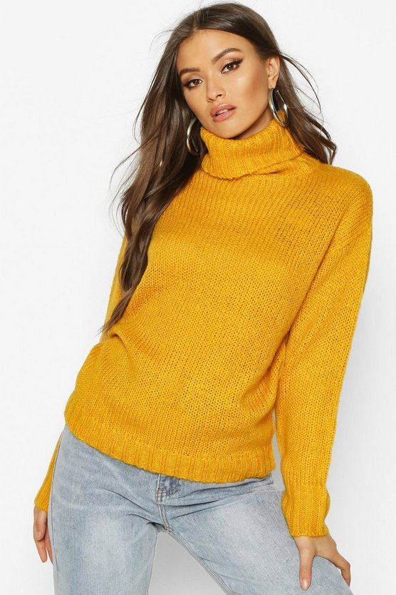Womens Yellow Oversized Roll Neck Jumper