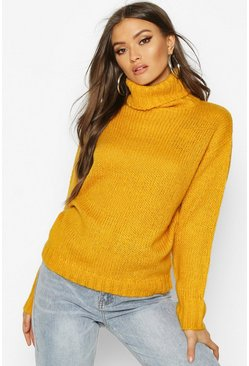 Dam Yellow Oversized Roll Neck Jumper