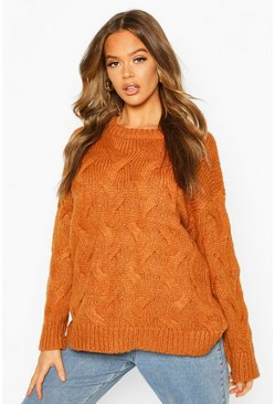 Cinnamon All Over Cable Knit Longline Sweater
