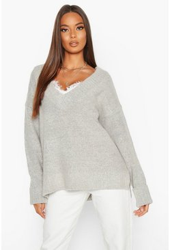 Womens Grey Fluffy Turn Up Cuff Round Neck Jumper