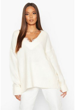 Womens Ivory Fluffy Turn Up Cuff Round Neck Jumper