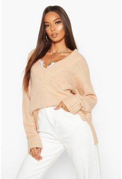 Sand Fluffy Turn Up Cuff Round Neck Jumper