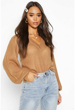 Camel Balloon Sleeve V Neck Jumper