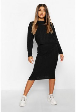 Womens Black Cable Knit Skirt Set