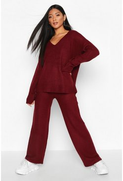 Womens Berry V Neck Knitted Set
