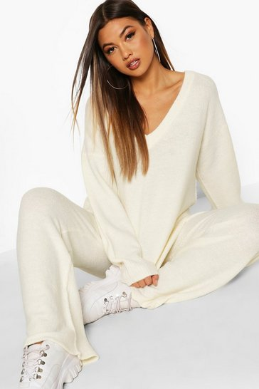 Womens Ivory V Neck Knitted Set