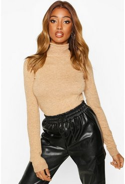 Womens Camel Roll Neck Knitted Jumper