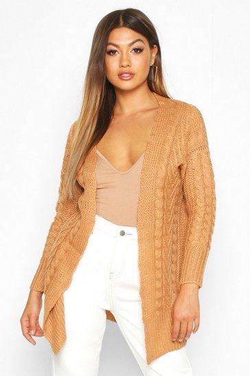 Womens Camel Cable Knit Midi Cardigan
