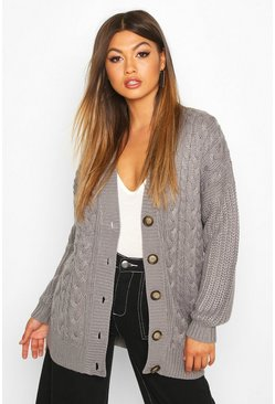 Womens Mid grey Button Through Cable Knit Cardigan