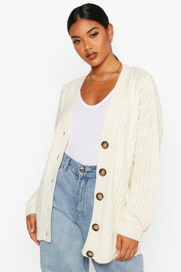 Womens Cream Button Through Cable Knit Cardigan