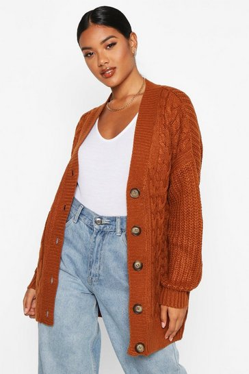 Womens Nutmeg Button Through Cable Knit Cardigan