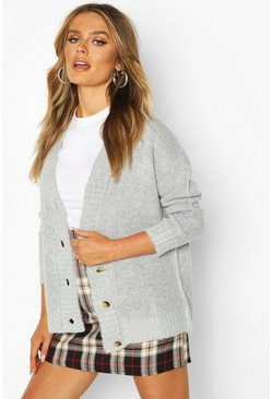 Grey Oversized Button Through Cardigan