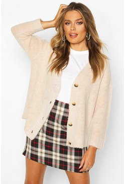Womens Oatmeal Oversized Button Through Cardigan