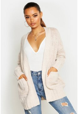 Womens Oatmeal Pocket Detail Cardigan