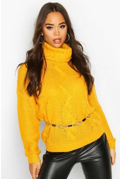 Womens Yellow Roll Neck Cable Knit Jumper
