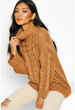 Womens Camel Roll Neck Oversized Cable Knit Jumper