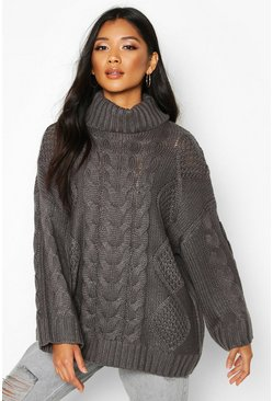 Womens Mid grey Roll Neck Oversized Cable Knit Jumper
