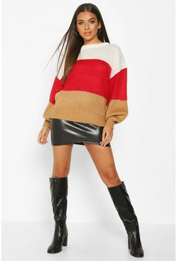 Red Colour Block Balloon Sleeve Jumper