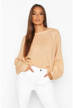 Womens Biscuit Oversized Balloon Sleeve Jumper