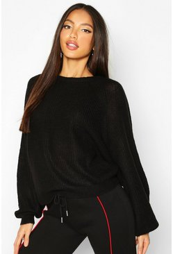 Womens Black Oversized Balloon Sleeve Jumper