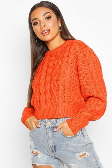 Womens Orange Cable Knit Crop Jumper