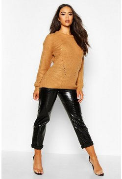 Womens Camel Longline Knit Detail Jumper