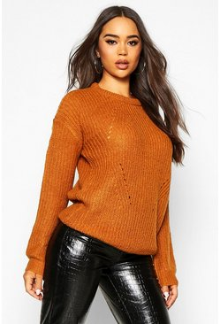 Womens Turmeric Longline Knit Detail Jumper