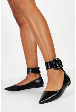Black Buckle Belt Pointed Flat Ballets