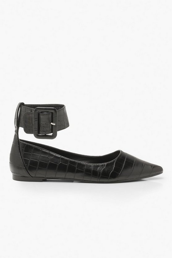 Buckle Belt Pointed Flat Ballets