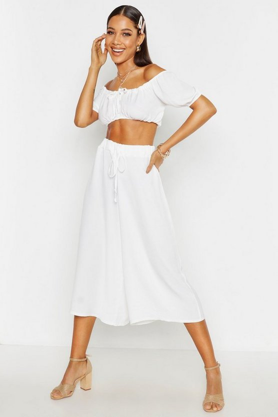 Womens White Linen Look Wide Leg Culottes