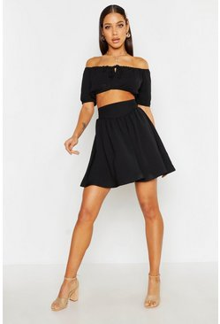 Womens Black Linen Look Skater Skirt