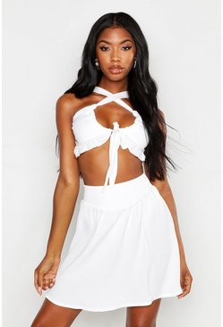Womens White Linen Look Ruffle Tie Crop Top