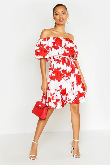 Womens Red Off The Shoulder Floral Frill Skater Dress
