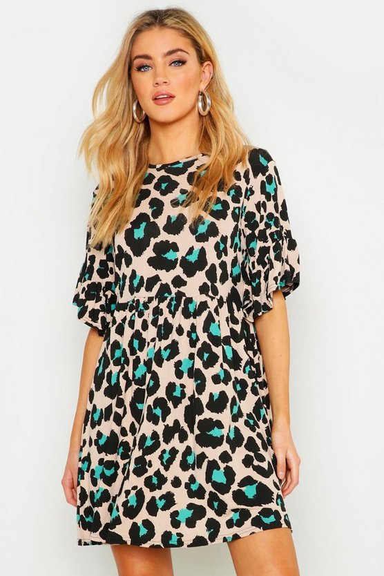 Turquoise Coloured Leopard Printed Smock Dress