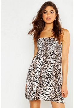 Womens Brown Leopard Print Shirred Smock Dress