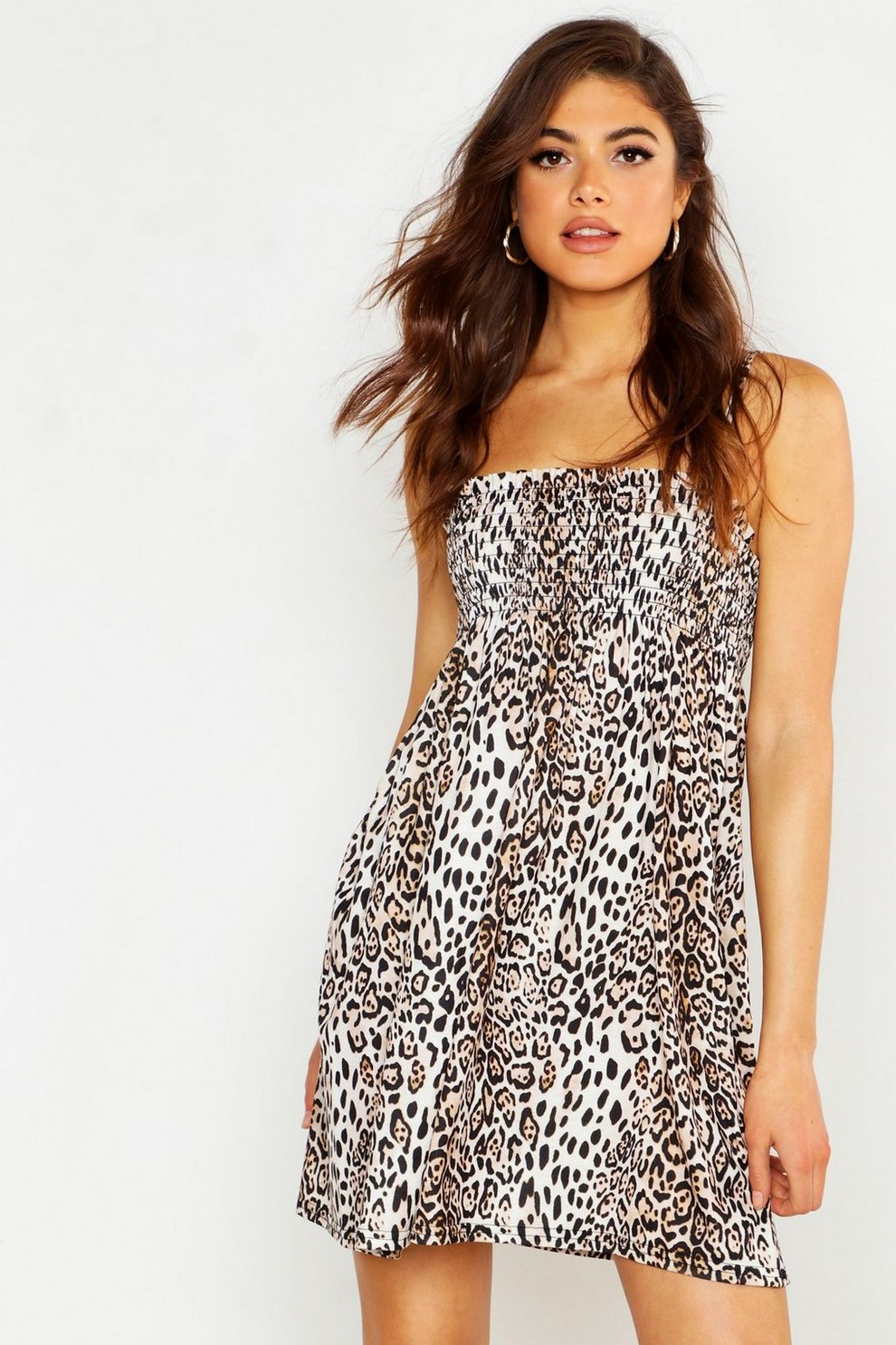 4fa1aec27063 Womens Brown Leopard Print Shirred Smock Dress
