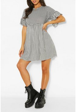 Multi Gingham Printed Smock Dress