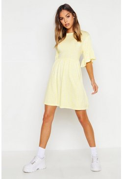 Womens Yellow Gingham Printed Smock Dress