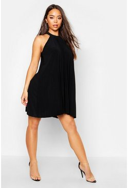 Womens Black Pleated Slinky High Neck Swing Dress