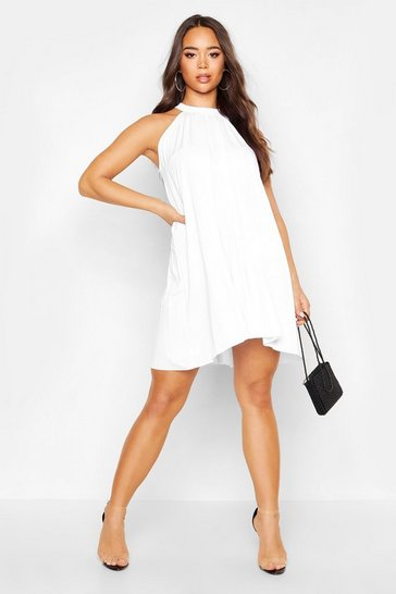 Womens White Pleated Slinky High Neck Swing Dress
