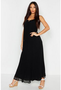 Womens Black Pleated Strappy Maxi Dress