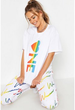 Womens White Stripe One Oversized T-shirt