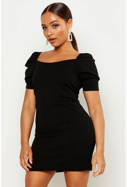 Womens Black Puff Sleeve Square Neck Shift Dress