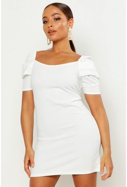 Womens Ivory Puff Sleeve Square Neck Shift Dress