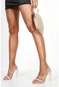 Womens Nude Embellished Clear Heel Mules