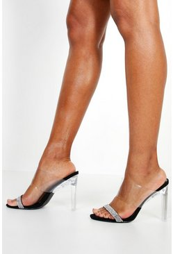Womens Black Embellished Clear Heel Mules
