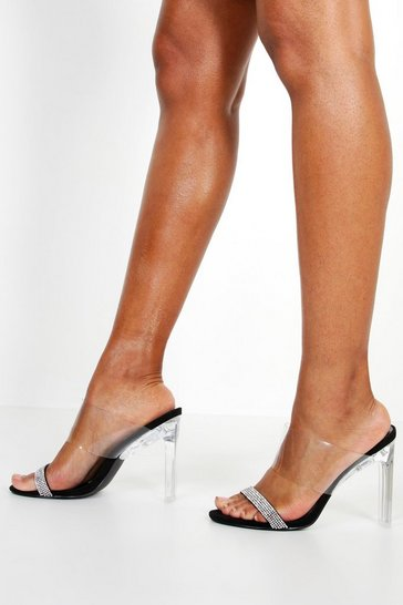 8093529c358 Embellished Clear Heel Mules