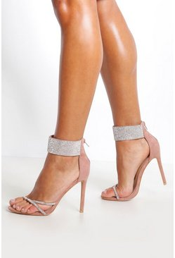 Womens Blush Embellished Cuff 2 Part Heels