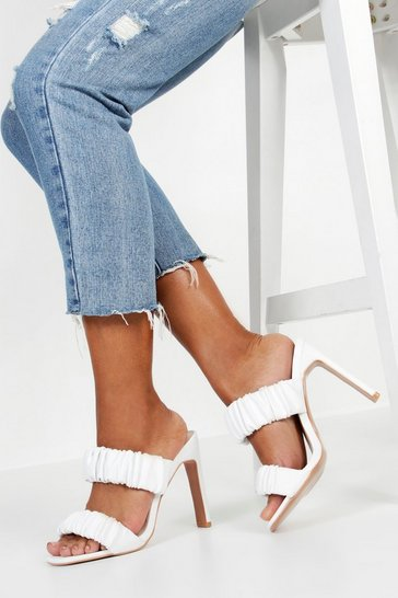 Womens White Rouched Double Band Mules